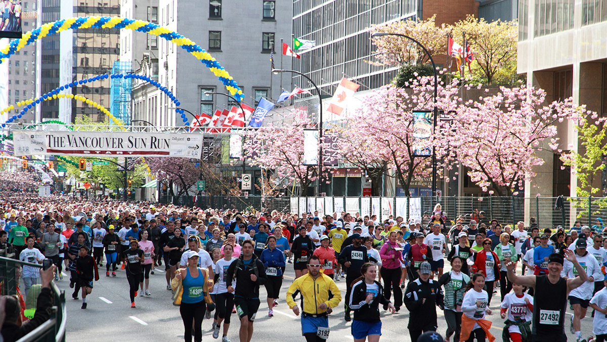 People running the Vancouver Sun Run.