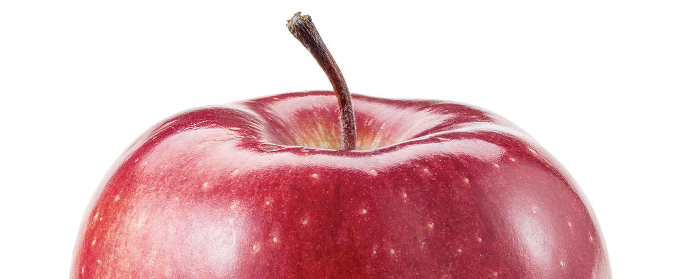 Top half of a red apple.