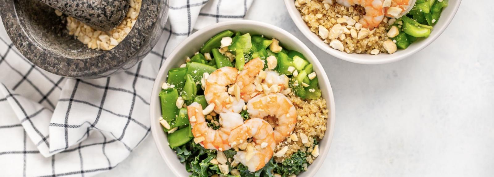 Shrimp and Kale Quinoa Bowl